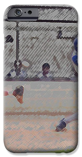 Baseball Batter Contact Digital Art iPhone Case by Thomas Woolworth