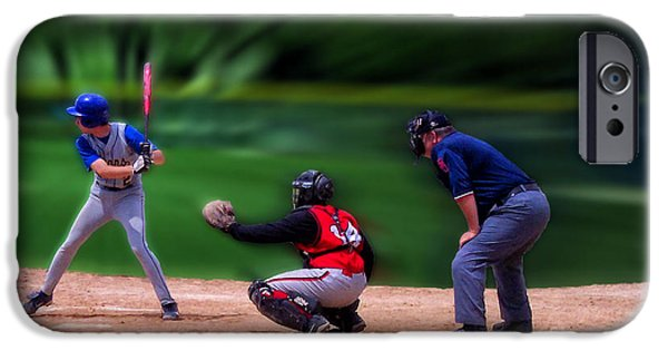 Baseball Glove iPhone Cases - Baseball Batter Up iPhone Case by Thomas Woolworth