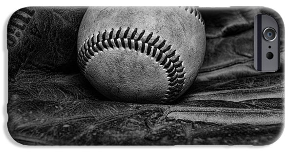 Baseball iPhone Cases - Baseball broken in black and white iPhone Case by Paul Ward