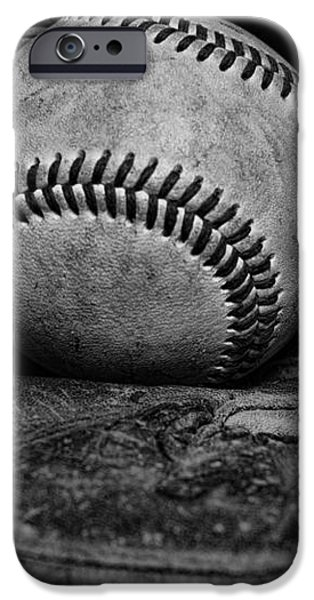 Baseball broken in black and white iPhone Case by Paul Ward