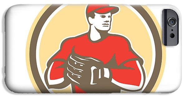 Baseball Glove iPhone Cases - Baseball Catcher Gloves Circle Retro iPhone Case by Aloysius Patrimonio