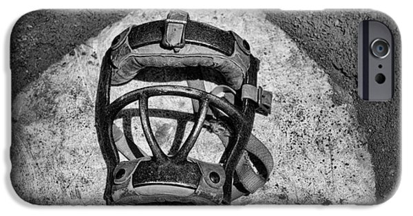 Baseball Art iPhone Cases - Baseball Catchers Mask Vintage in black and white iPhone Case by Paul Ward
