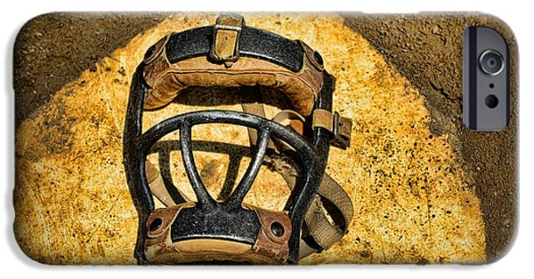 Sports Bar iPhone Cases - Baseball Catchers Mask Vintage  iPhone Case by Paul Ward