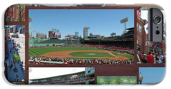 Boston Red Sox iPhone Cases - Baseball Collage iPhone Case by Barbara McDevitt