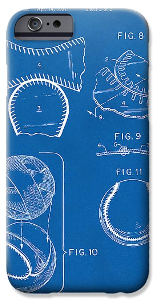 Diy iPhone Cases - Baseball Construction Patent 2 - Blueprint iPhone Case by Nikki Marie Smith
