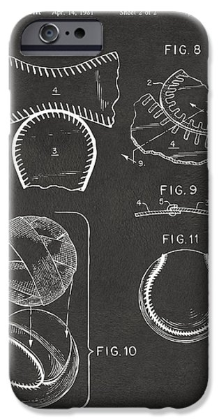 Baseball Construction Patent 2 - Gray iPhone Case by Nikki Marie Smith