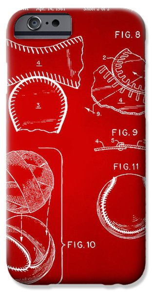 Diy iPhone Cases - Baseball Construction Patent 2 - Red iPhone Case by Nikki Marie Smith