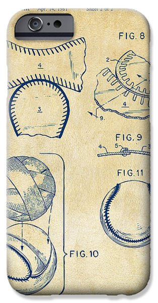 Diy iPhone Cases - Baseball Construction Patent 2 - Vintage iPhone Case by Nikki Marie Smith