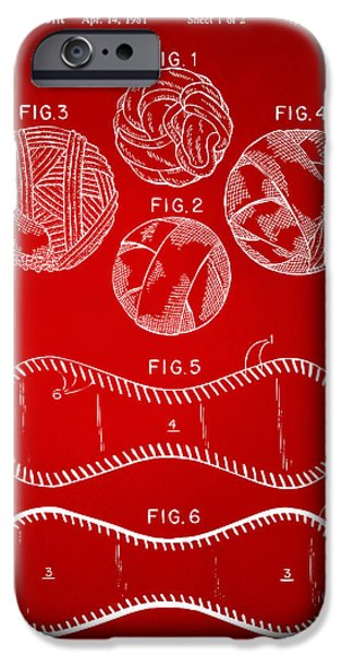Diy iPhone Cases - Baseball Construction Patent - Red iPhone Case by Nikki Marie Smith