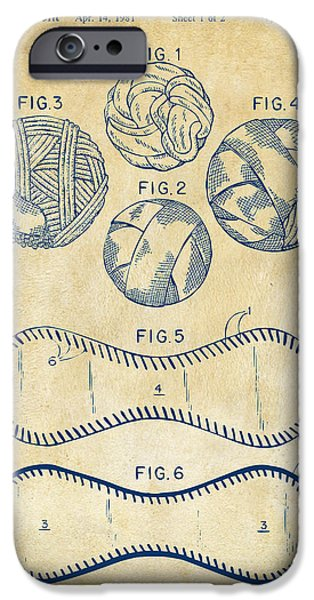 Baseball Construction Patent - Vintage iPhone Case by Nikki Marie Smith