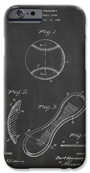 Baseball Glove iPhone Cases - Baseball Cover Patent Drawing From 1923 iPhone Case by Aged Pixel