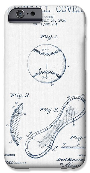 Baseball Glove iPhone Cases - Baseball Cover Patent Drawing From 1924 - Blue Ink iPhone Case by Aged Pixel