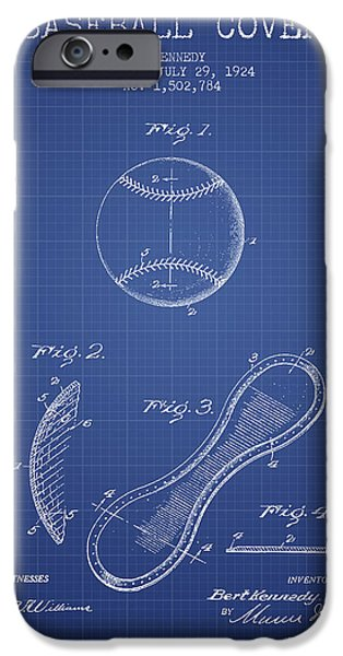 Baseball Glove iPhone Cases - Baseball Cover Patent From 1924 - Blueprint iPhone Case by Aged Pixel