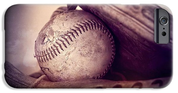 Ball And Glove iPhone Cases - Baseball  iPhone Case by Dan Sproul