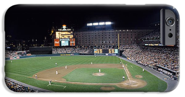 Camden Yards Stadium iPhone Cases - Baseball Game Camden Yards Baltimore Md iPhone Case by Panoramic Images