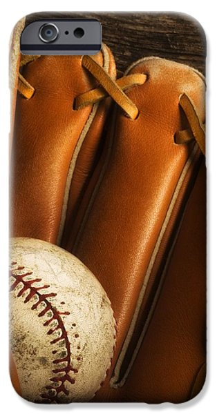 Baseball Glove And Baseball iPhone Case by Chris Knorr