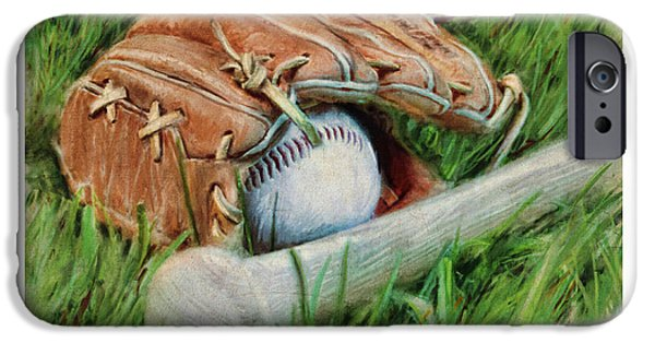 Baseball Glove iPhone Cases - Baseball Glove Bat and Ball iPhone Case by Craig Tinder