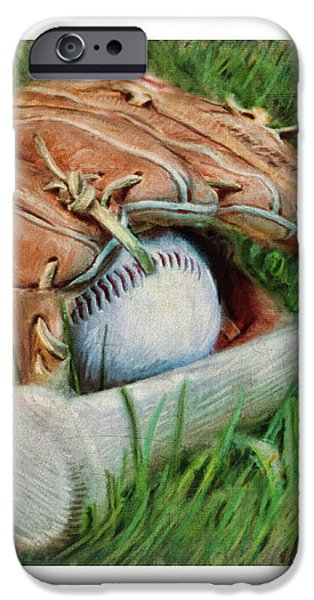 Baseball Glove Bat and Ball iPhone Case by Craig Tinder