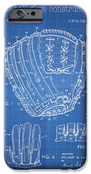Baseball Glove Drawings iPhone Cases - Baseball glove construction patent blueprint - US 3576036 A iPhone Case by Evgeni Nedelchev