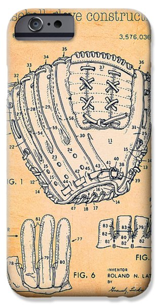 Baseball Glove Drawings iPhone Cases - Baseball glove construction patent orange - US 3576036 A iPhone Case by Evgeni Nedelchev