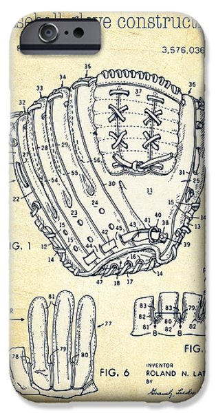 Baseball Glove Drawings iPhone Cases - Baseball glove construction patent vintage - US 3576036 A iPhone Case by Evgeni Nedelchev