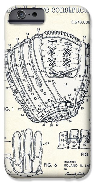 Baseball Glove Drawings iPhone Cases - Baseball glove construction patent white - US 3576036 A iPhone Case by Evgeni Nedelchev