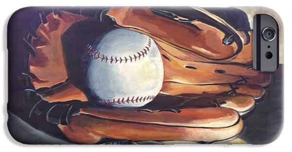Baseball Glove Paintings iPhone Cases - Baseball Glove in Light iPhone Case by Harriet Edwards