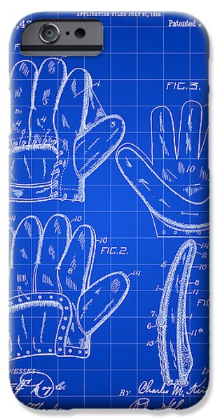 Baseball Glove iPhone Cases - Baseball Glove Patent 1909 - Blue iPhone Case by Stephen Younts