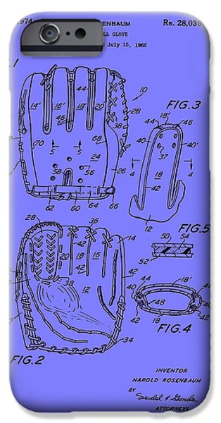 Baseball Glove Drawings iPhone Cases - Baseball Glove Patent 1974 iPhone Case by Mountain Dreams