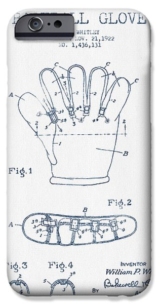 Baseball Glove iPhone Cases - Baseball Glove Patent Drawing From 1922 - Blue Ink iPhone Case by Aged Pixel