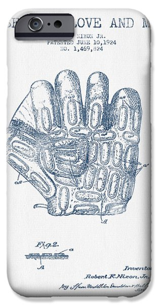 Baseball Glove iPhone Cases - Baseball Glove Patent Drawing From 1924 - Blue Ink iPhone Case by Aged Pixel