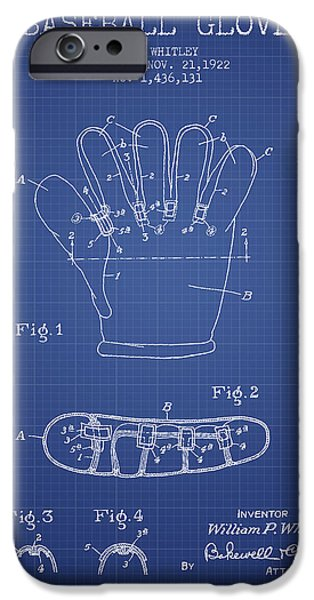 Baseball Glove iPhone Cases - Baseball Glove Patent From 1922 - Blueprint iPhone Case by Aged Pixel