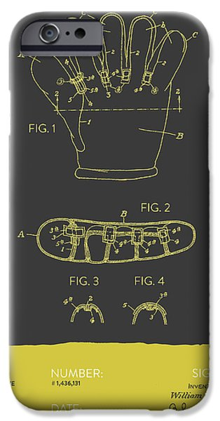 Baseball iPhone Cases - Baseball Glove Patent From 1922 - Gray Yellow iPhone Case by Aged Pixel