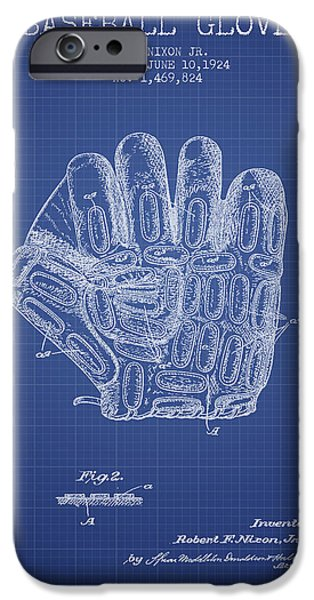 Baseball Glove iPhone Cases - Baseball Glove Patent From 1924 - Blueprint iPhone Case by Aged Pixel