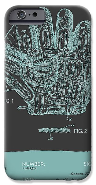 Baseball Digital Art iPhone Cases - Baseball Glove Patent From 1924 - Gray Blue iPhone Case by Aged Pixel