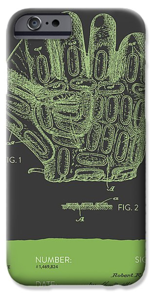 Baseball iPhone Cases - Baseball Glove Patent From 1924 - Gray Green iPhone Case by Aged Pixel