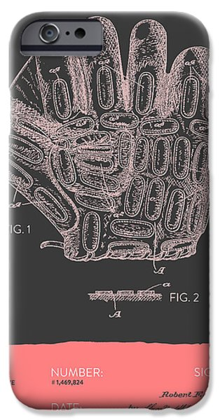 Baseball Glove iPhone Cases - Baseball Glove Patent From 1924 - Gray Salmon iPhone Case by Aged Pixel