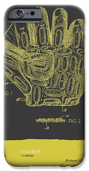 Baseball iPhone Cases - Baseball Glove Patent From 1924 - Gray Yellow iPhone Case by Aged Pixel