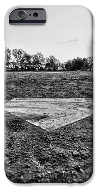 Baseball - Home Plate - Black and White iPhone Case by Paul Ward