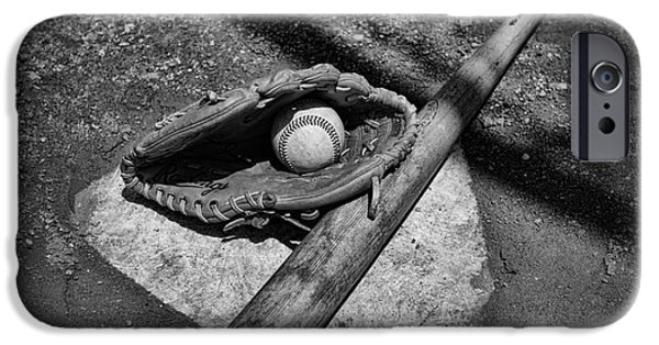 Pitchers Glove iPhone Cases - Baseball Home Plate in black and white iPhone Case by Paul Ward