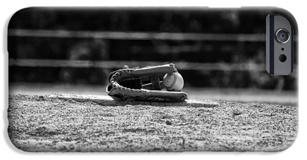 Mounds Digital iPhone Cases - Baseball in Black and White iPhone Case by Bill Cannon