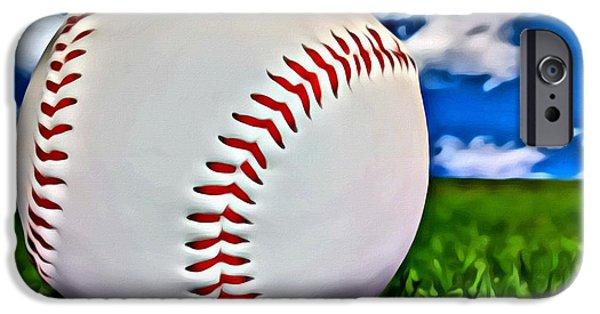 Baseball iPhone Cases - Baseball in the Grass iPhone Case by Florian Rodarte