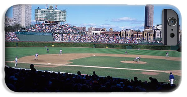 Wrigley iPhone Cases - Baseball Match In Progress, Wrigley iPhone Case by Panoramic Images