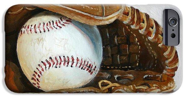 Baseball Glove Paintings iPhone Cases - Baseball Mitt iPhone Case by Abra Johnson