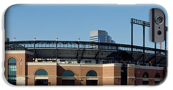 Camden Yards Stadium iPhone Cases - Baseball Park In A City, Oriole Park iPhone Case by Panoramic Images
