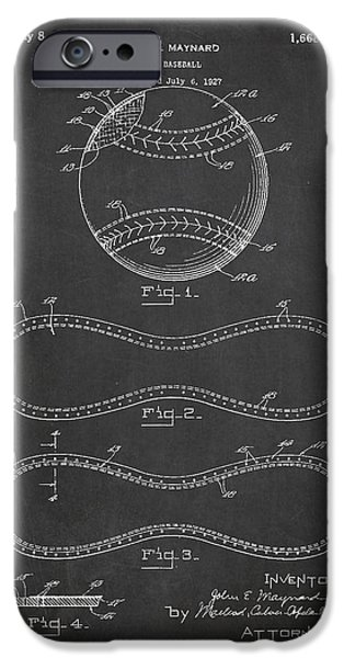 Baseball iPhone Cases - Baseball Patent Drawing From 1927 iPhone Case by Aged Pixel