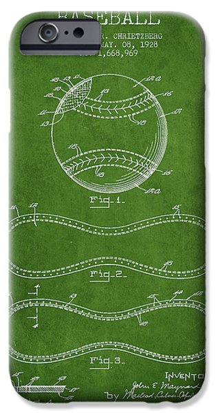 Baseball Glove iPhone Cases - Baseball Patent Drawing From 1928 iPhone Case by Aged Pixel