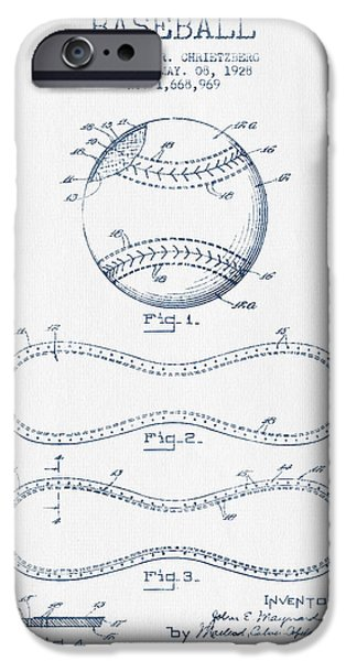 Baseball Glove iPhone Cases - Baseball Patent Drawing From 1928 - Blue Ink iPhone Case by Aged Pixel