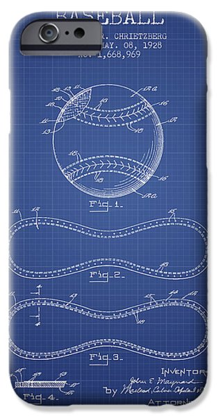 Baseball Digital Art iPhone Cases - Baseball Patent From 1928 - Blueprint iPhone Case by Aged Pixel