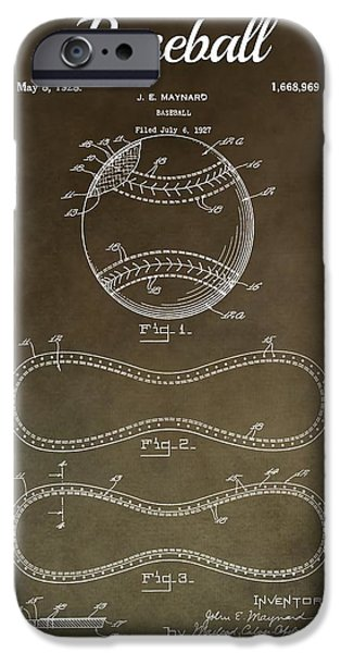 Mlb Mixed Media iPhone Cases - Baseball Patent Antique Brown  iPhone Case by Dan Sproul